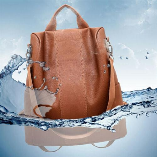 USA Leather Anti-Theft Rucksack School Shoulder Bag Black/Brown