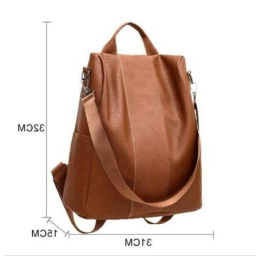 USA Women's Leather Backpack Anti-Theft Rucksack Bag Black/Brown