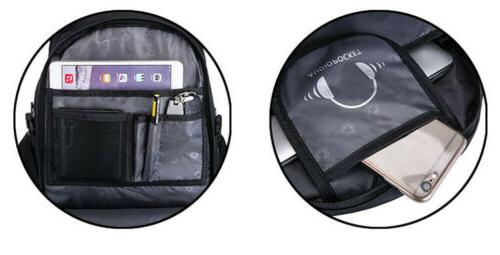 """USB 16"""" Laptop Gear Backpack Waterproof Travel Bag"""