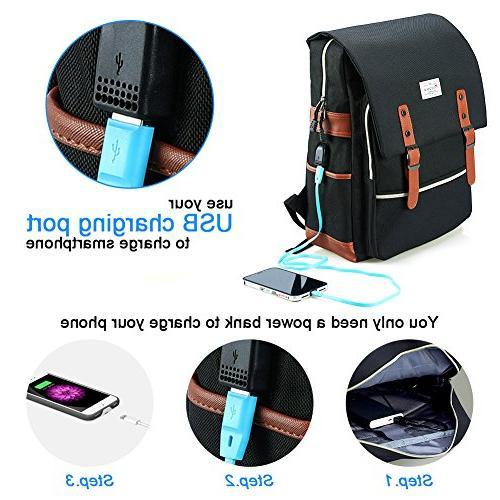 Modoker Vintage for Men,School College Backpack with USB Port Fashion 15