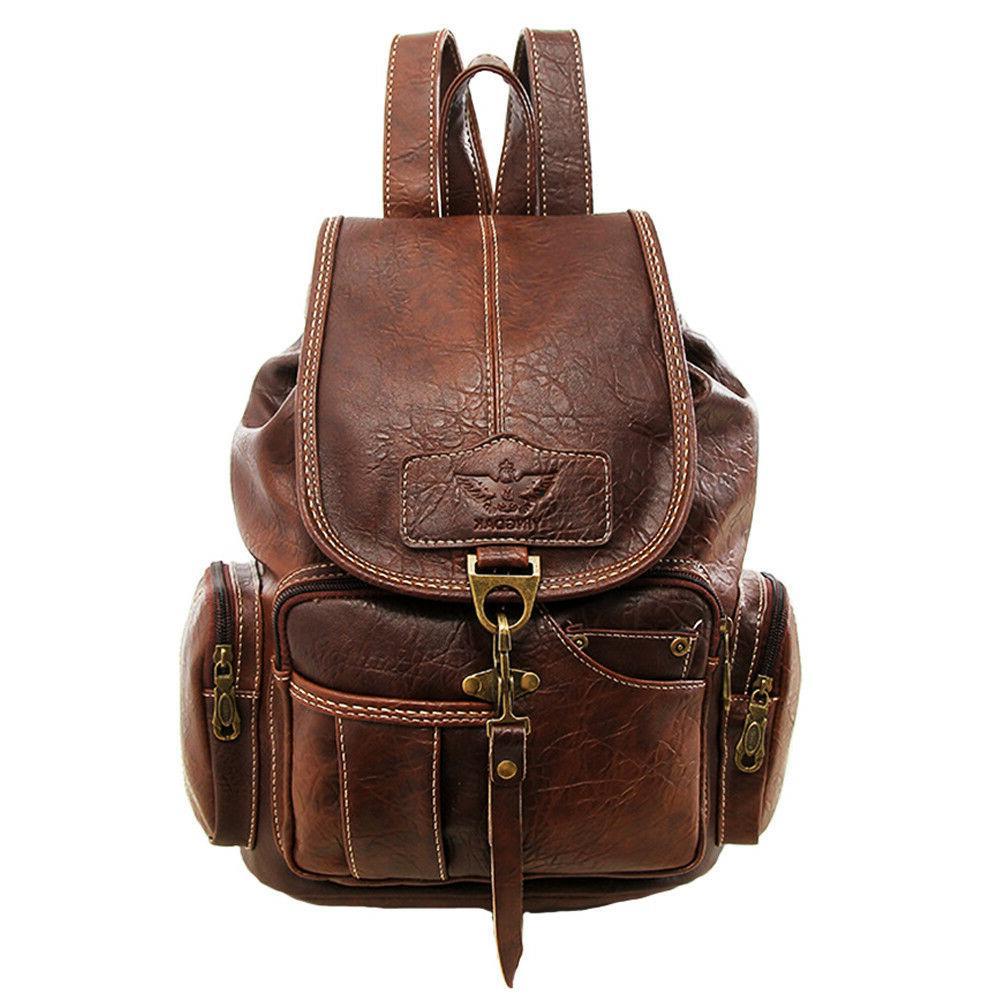 vintage womens leather backpack shoulder school shoulder