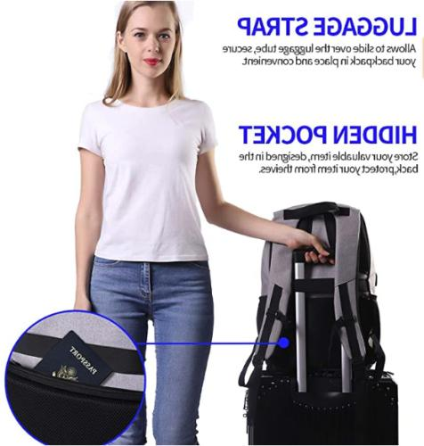Laptop Backpack USB Charging Port Shoulder Notebook School
