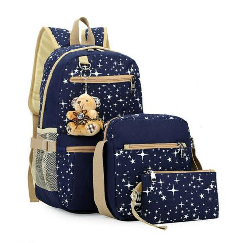 3Pcs Set School Backpack Travel Bag Shoulder Bookbag