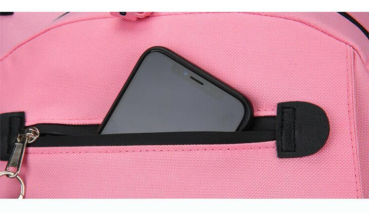 Women Canvas Bag Waterproof Theft USB Port Bookbag
