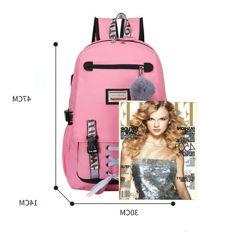 Women Canvas Girls School Bag Theft USB Port Bookbag
