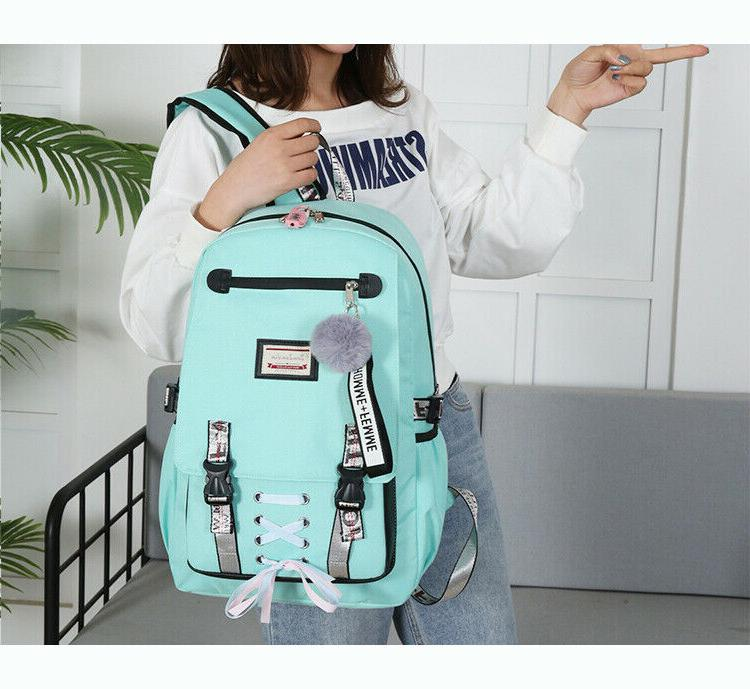 women canvas girls school bag backpack w