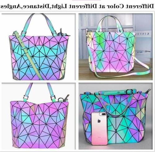 Women Geometric Backpack Handbag Luminous Shoulder