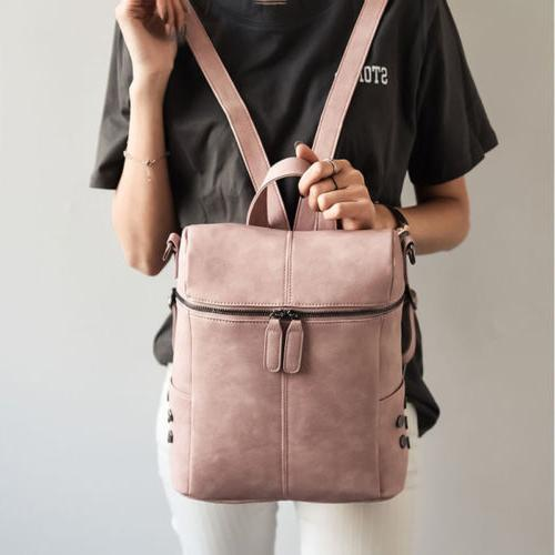 Women PU Satchel Rucksack School