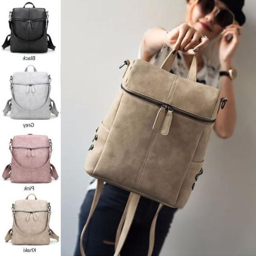 Women Girl Backpack PU Satchel Handbag Rucksack Shoulder School