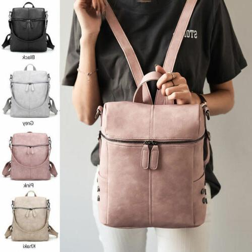 women girl backpack travel pu satchel leather