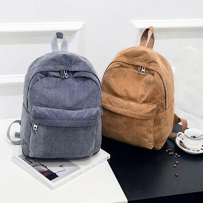 Women Vintage Rucksack Corduroy Backpack Solid Casual