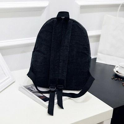 Women Men Vintage Corduroy Backpack Solid Casual