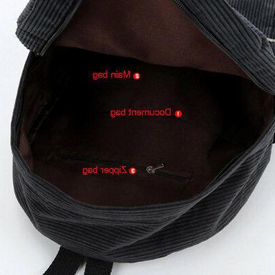 Women Vintage Corduroy Backpack School Solid Casual