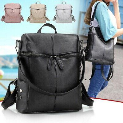 Women PU Bags Waterproof Backpack Handbag Messenger JR15