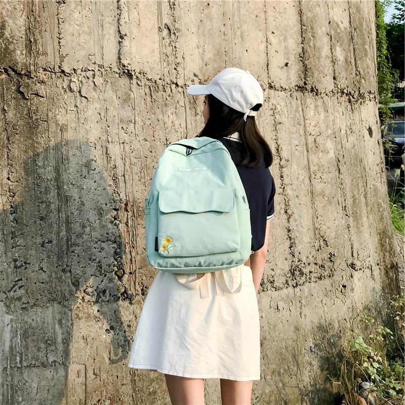 Women's Harajuku Sunflower Embroidery <font><b>Backpack</b></font> College Bag Kawaii <font><b>Backpack</b></font> Letter