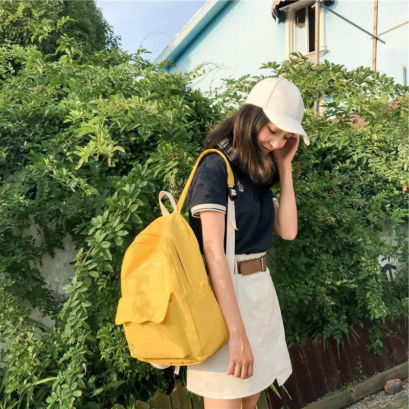 Women's Bag Travel Harajuku Sunflower Embroidery <font><b>Backpack</b></font> Student Bag Letter