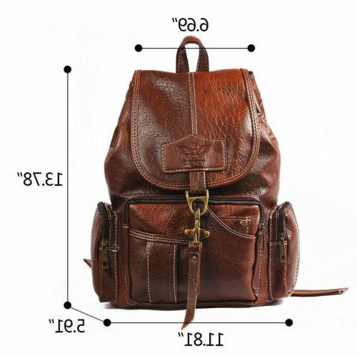 Leather Backpack School Handbag Satchel
