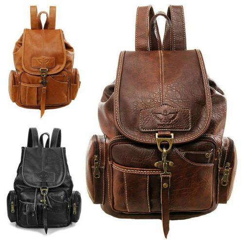 Women Vintage PU School Satchel