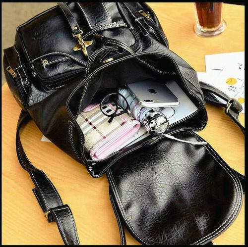 Women Vintage PU Leather Backpack Bag School Handbag