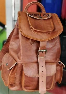 Laptop Travel  Rucksack Vintage Men's Backpack Leather Messe