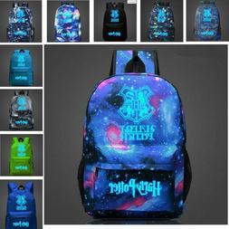 Large Blue&Black HARRY POTTER Glow In The Dark Backpacks Sch