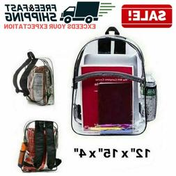 Large Heavy Duty Clear Backpack Transparent Bag School Offic