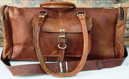 Large Men's Leather Vintage Duffle Luggage Weekend Gym Overn