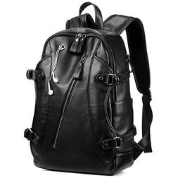 Leather Backpack, KISSUN 15.6 inch Business PU Soft Leather