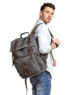 Kattee Men'S Leather Canvas Backpack Large School Bag Travel