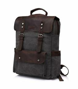 VASCHY Leather Laptop Backpack, Casual Canvas Campus School