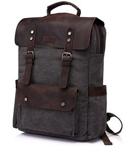 Leather Laptop Backpack,Vaschy Casual Canvas Campus School R