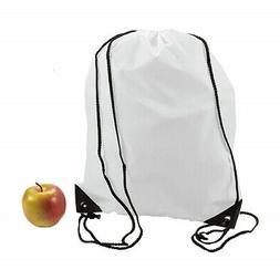 "Lot of 12 Large Nylon Drawstring Backpacks White 14 1/2"" x 1"