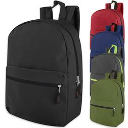 Lot of 24 Wholesale 17 Inch Backpacks in 5 Assorted Solid Co