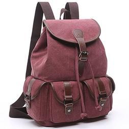 BAOSHA LP-13 Vintage Canvas Casual Daypack Laptop Backpack C