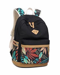 LuckyZ Women Girls Backpack Lightweight Canvas Leather Daykp