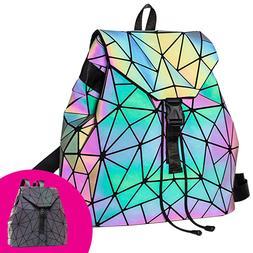 HAWWWY Luminous Geometric Backpack Handbag Holographic Refle