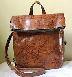 Patricia Nash Luzille Convertible Backpack Riot Rust Map BNW