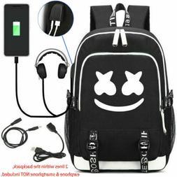 Marshmello Backpack Mello DJ Bag w/ USB Charging Port Headph