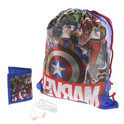 Marvel Avengers Boys Drawstring Backpack Headphones and Wall
