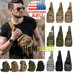 Men Backpack Molle Tactical Sling Chest Bag Assault Pack Mes