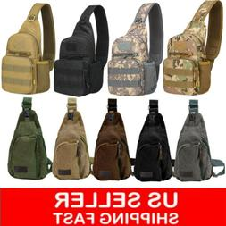 men backpack molle tactical sling chest pack
