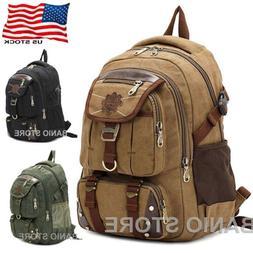 KAUKKO Men Canvas Backpack Rucksack Bag Camping Travel Schoo