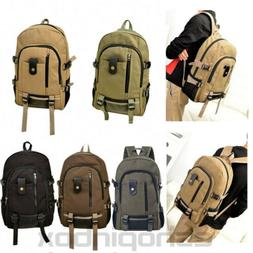 Men Canvas Backpack Rucksack Travel Sport Hiking Schoolbag L
