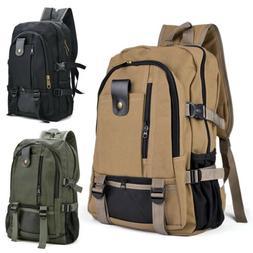 Men Canvas Backpack Rucksack Travel Sport Schoolbag Laptop H