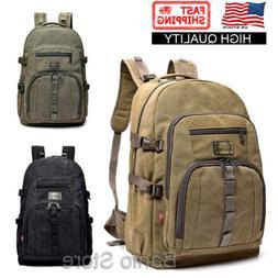 Men Canvas Large Backpack Rucksack Big Bag Camping Travel Sc