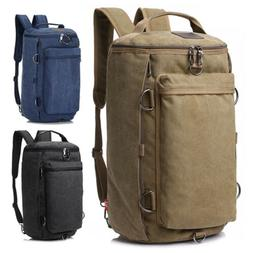 Men Canvas Shoulder Bag Military Backpack Camping Travel Duf
