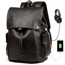 Men Leather Backpack with USB Buissness Vintage PU Leather B