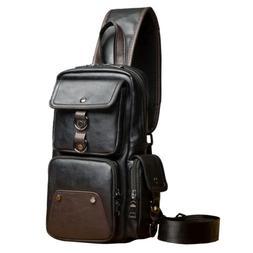 Men Leather Sling Bag Crossbody Backpack Cross Body Shoulder