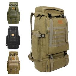 Men's 70L Outdoor Camping Hiking Trekking Canvas Backpack Mi