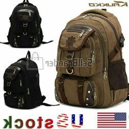 KAUKKO Men's Canvas Backpack Laptop School Satchel Rucksack